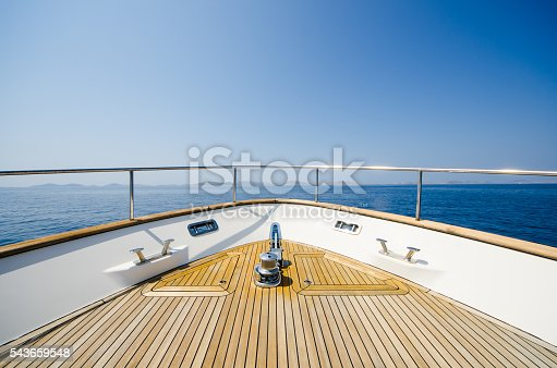 Wide angle shot of front of the yacht in summer timeWide angle shot of front of the yacht in summer time