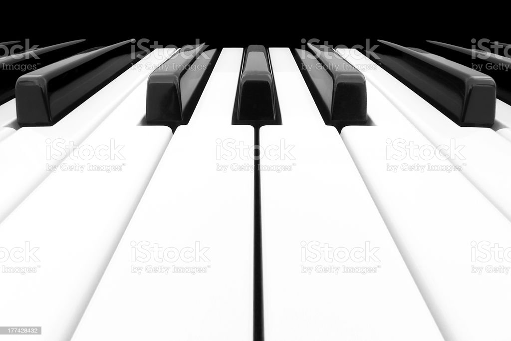 Wide angle shot of Piano Keyboard stock photo