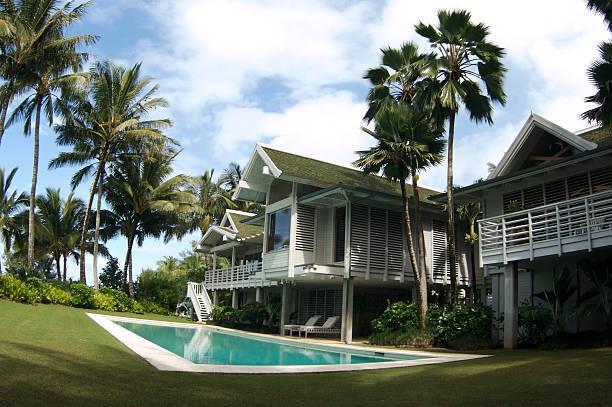 Weitwinkel tropischen Ausblick auf Retereat sich in Kauai, Hawaii – Foto