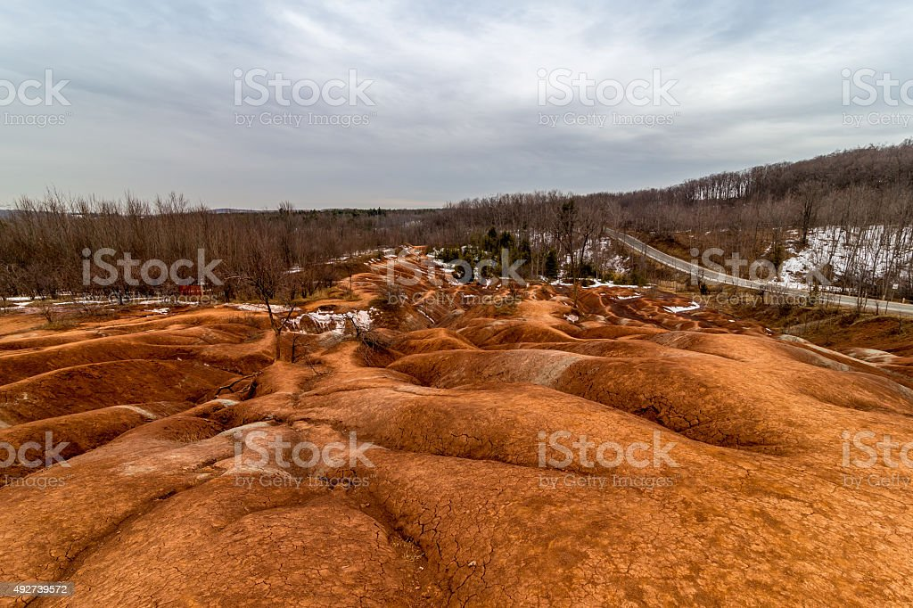 Wide angle vew of Badlands stock photo