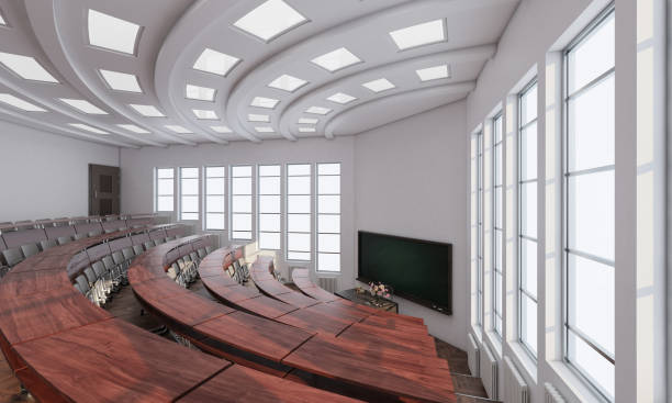 Wide Angle View of a Lecture Room 3D Rendering public building stock pictures, royalty-free photos & images