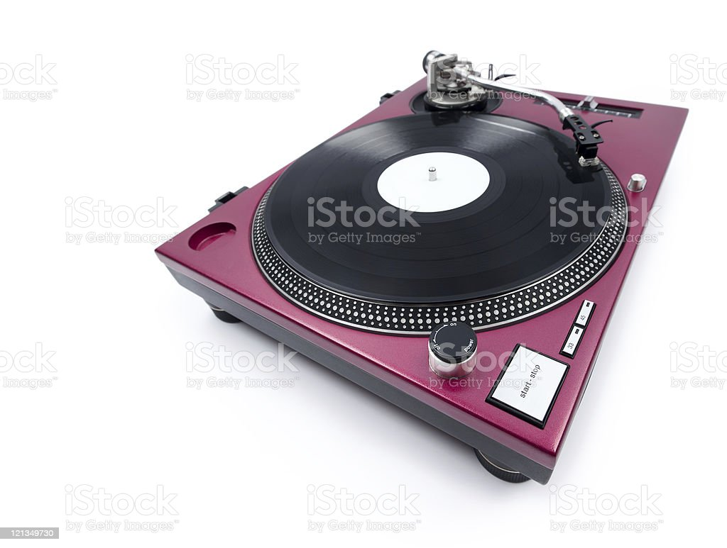 Wide angle view of a purple turntable on a white background royalty-free stock photo