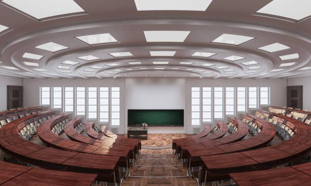 Weitwinkel-Blick auf einen leeren Hörsaal – Foto