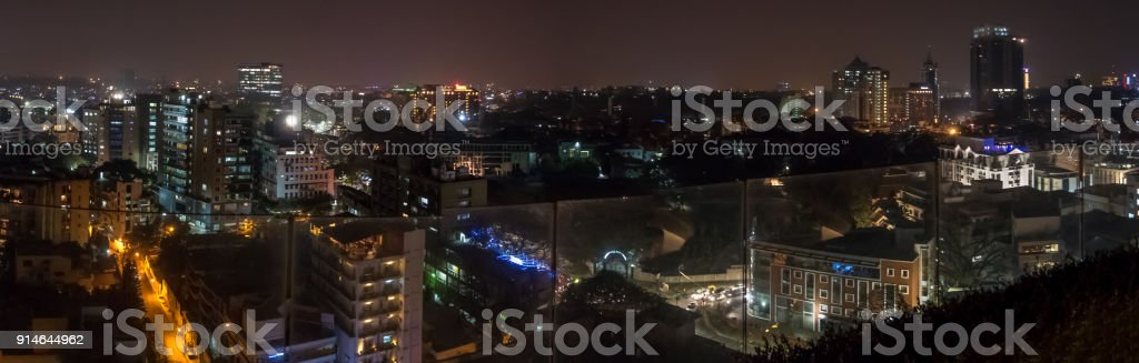 Wide Angle View of Bangalore Buildings From Roof Top stock photo