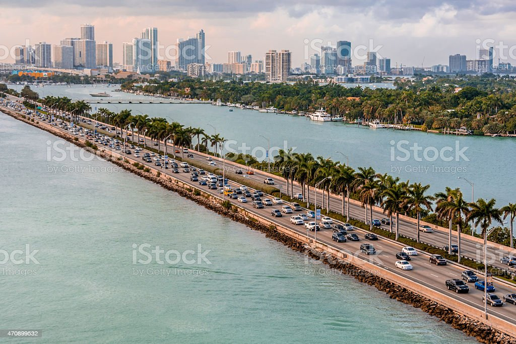 Wide Angle View of Biscayne Bay (Miami) stock photo