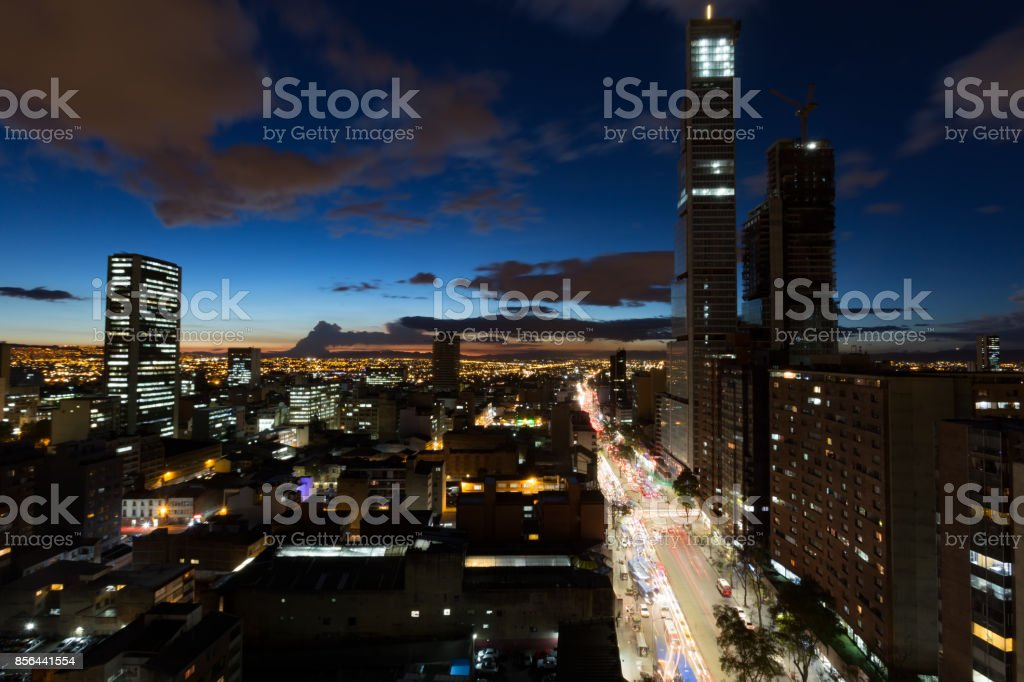 Wide angle view of Bogota in the evening stock photo