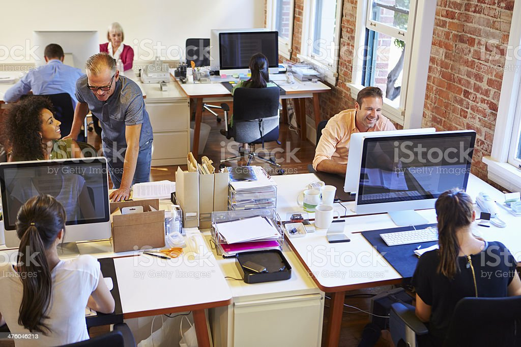 Wide Angle View Of Busy Design Office stock photo