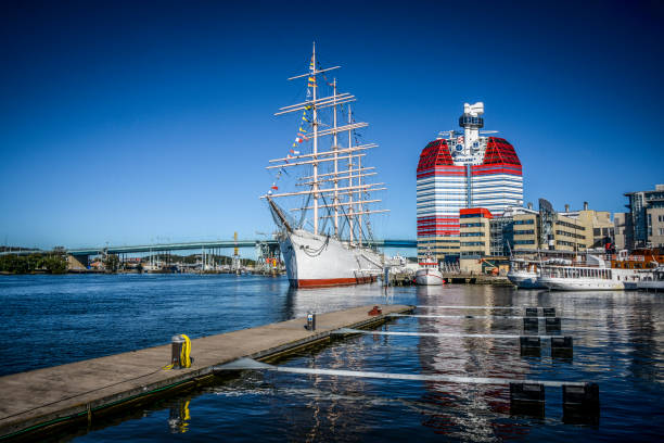 Wide Angle View of Colorful Harbor in Gothenburg, Sweden stock photo