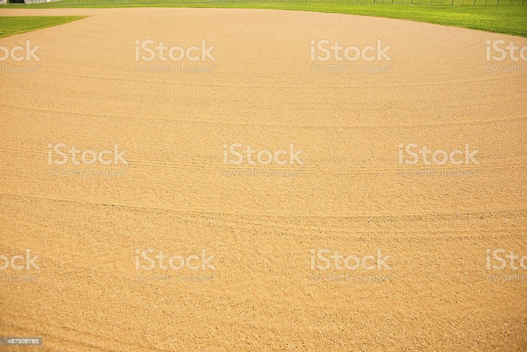 Wide angle view of groomed baseball field stock photo