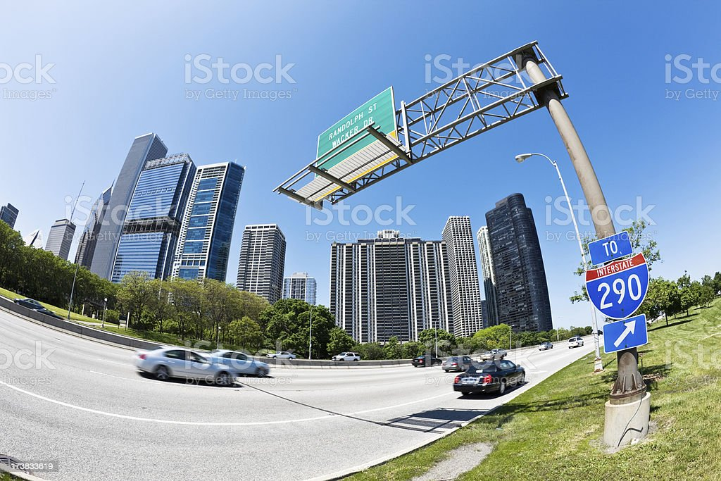 Wide Angle View of Lakeshore Drive Chicago royalty-free stock photo