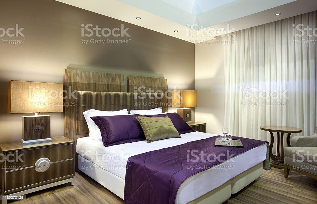 Wide angle view of luxury hotel suite stock photo