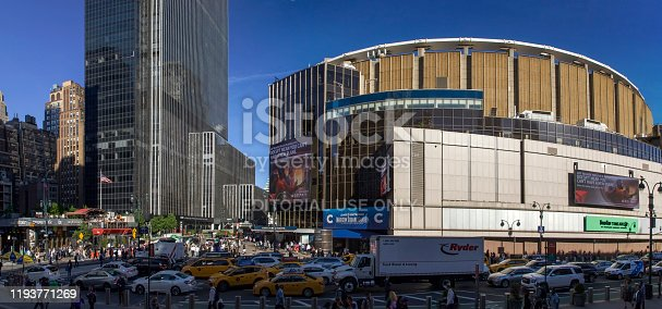 New York, New York/USA - May 21, 2019: Wide angle view of eighth avenue and 33rd street showing Madison Square Garden.