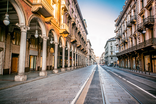 Wide Angle View of Main Street in Turin, Italy