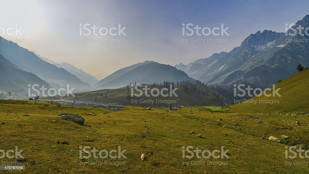 Wide angle view of Mountain range stock photo