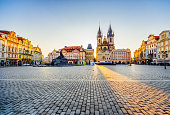 istock wide angle view of Old Town Square and Church of Our Lady before Týn in Prague at sunrise 976619498