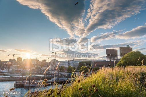 Wide angle view of Oslo City Hall and street scene with people and traveller / Oslo, Norway