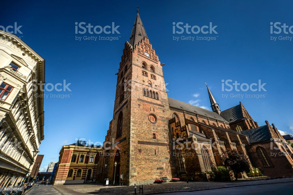 Wide Angle View of Saint Peter Church in Malmo, Sweden stock photo