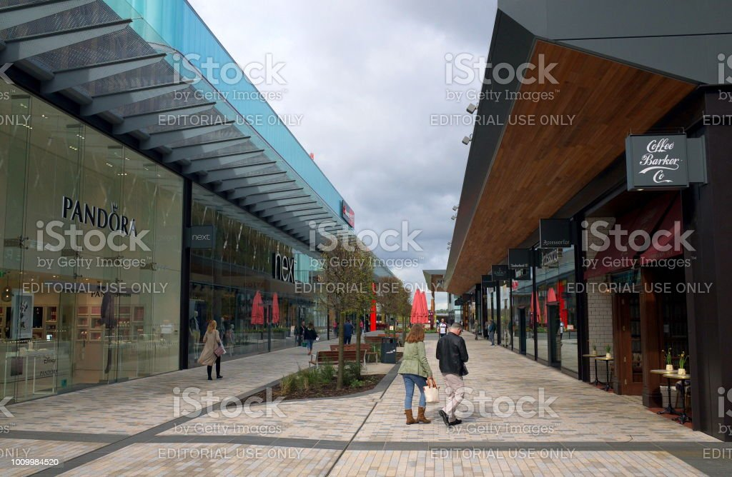 Bracknell, England - April 23, 2018: Wide Angle view of shops and pedestrians in the new Lexicon shopping center in Bracknell, England stock photo