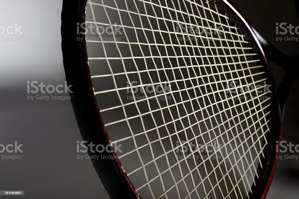 Wide angle view of Tennis Racket stock photo