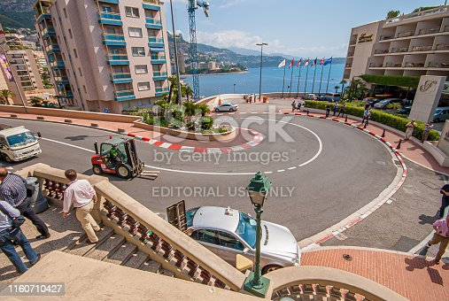 Monaco , Monaco - July 9 2008: Wide angle view of the famous Fairmont Hairpin.