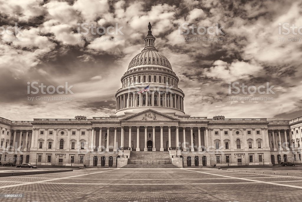Wide angle view of the United States Capitol East Facade stock photo