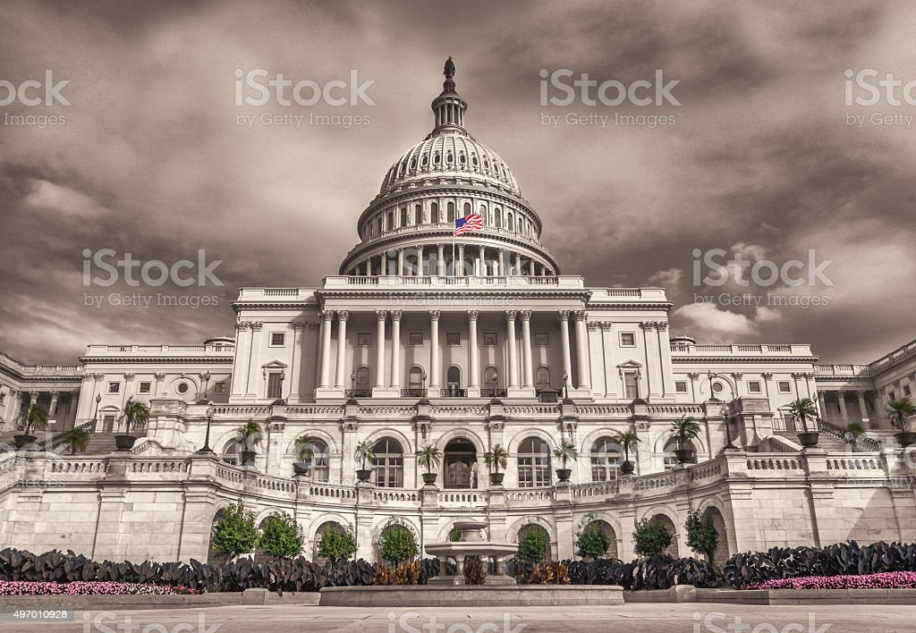 Wide angle view of the United States Capitol West Plaza stock photo