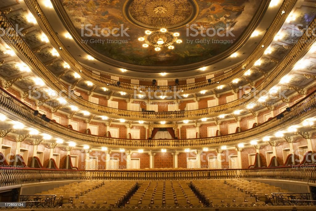 Wide angle view of theater interior stock photo