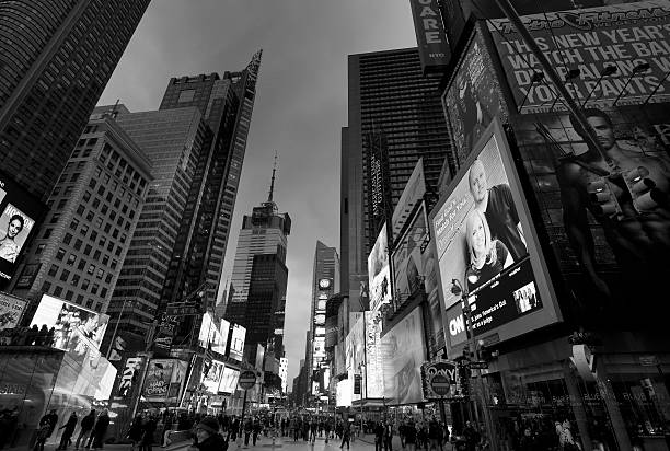 Wide angle view of Times Square by night stock photo