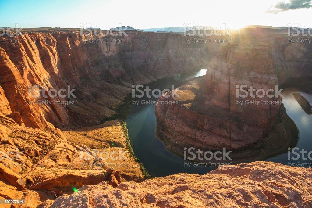Wide angle view on Horseshoe Bend at sunset, Arizona stock photo
