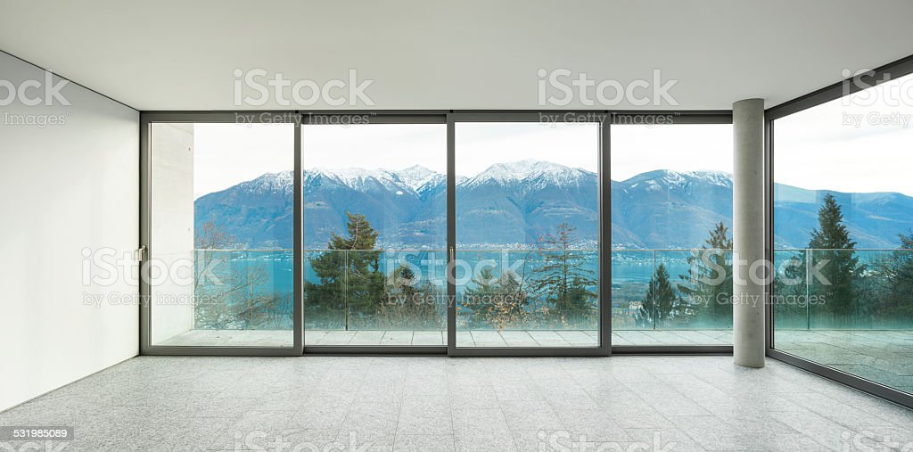 wide apartment, room with windows stock photo