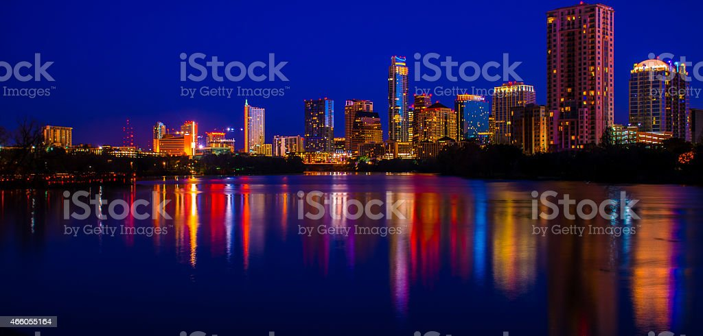 Wide Austin City Lights Reflecting at night stock photo