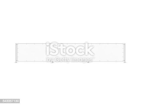 istock Wide banner mockup stand isolated on fence. Long blank board. 543357130