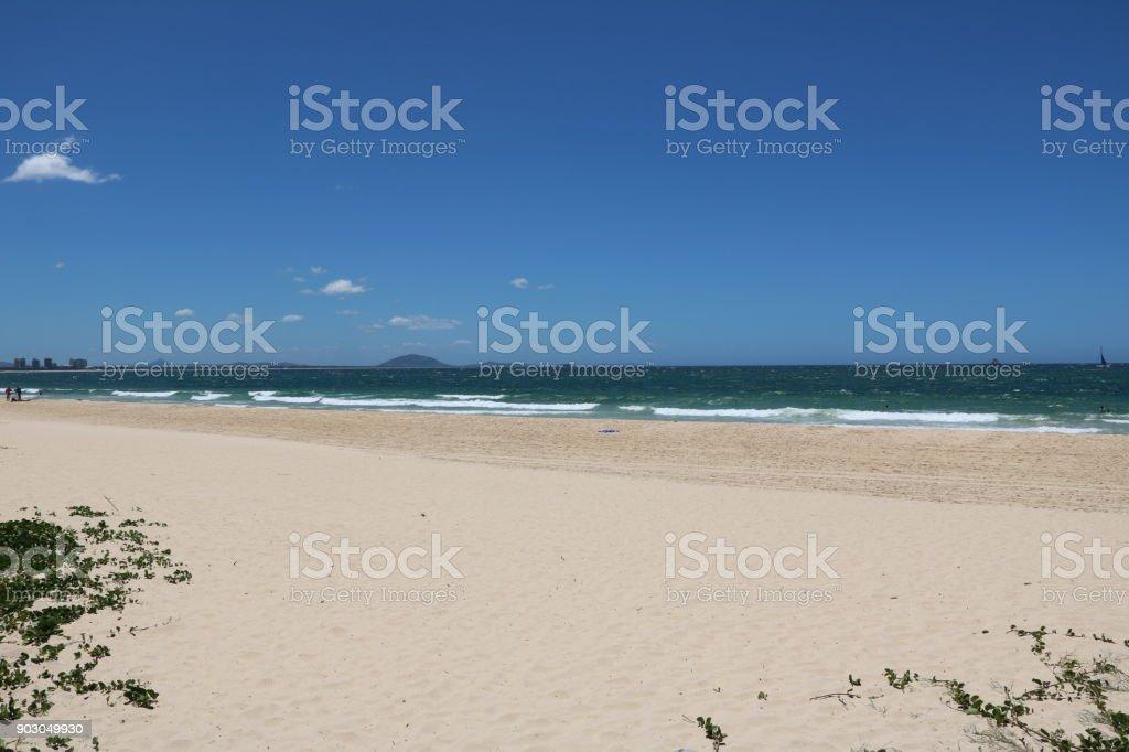 Wide beach of Sunshine Coast in summer in Queensland, Australia stock photo