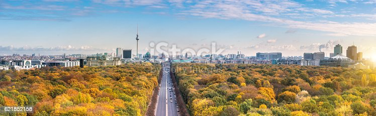 wide colorful autumn Berlin cityscape panorama from victory column