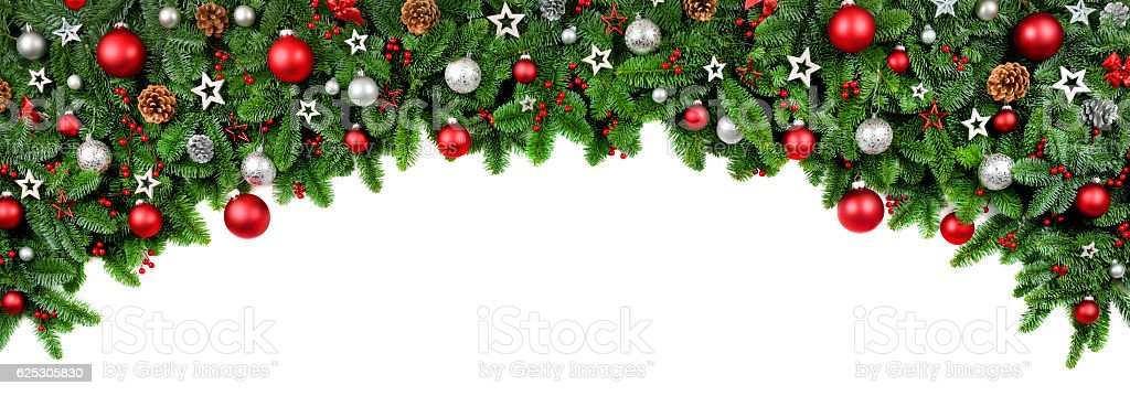 Wide bow shaped Christmas border stock photo