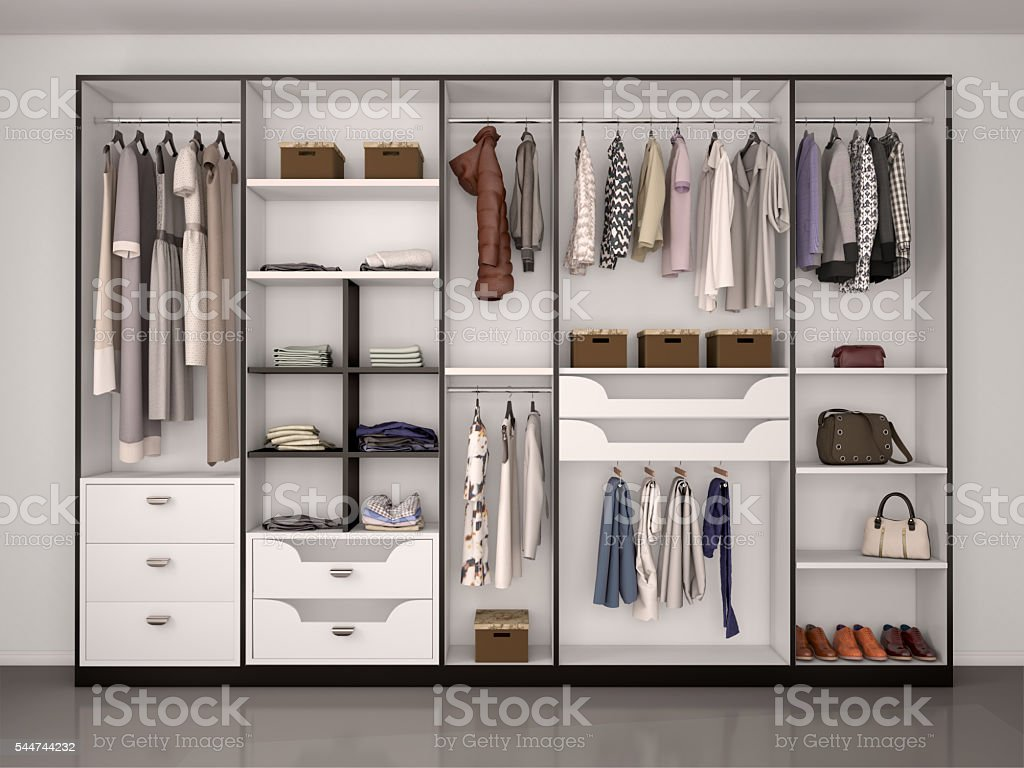 wide closet with a large window, stock photo