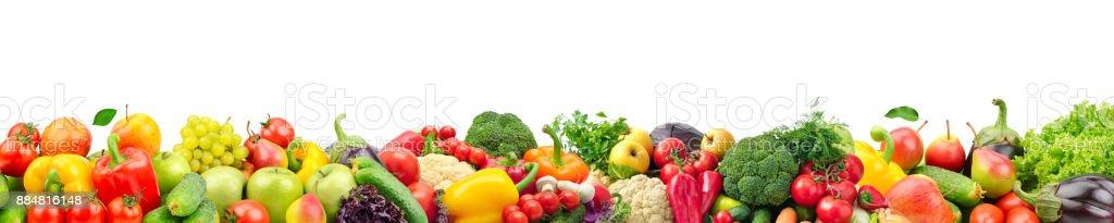 Gran collage de frutas y vegetales para el diseño foto de stock libre de derechos