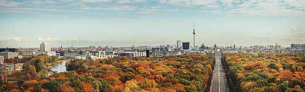wide colorful autumn berlin cityscape panorama from victory column - グローサーシュテルン広場 ストックフォトと画像