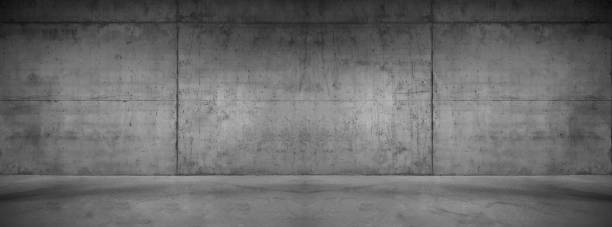 wide concrete background wall with floor for composing - concrete stock pictures, royalty-free photos & images