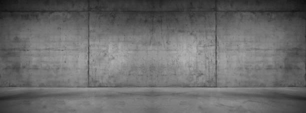 wide concrete background wall with floor for composing - calcestruzzo foto e immagini stock