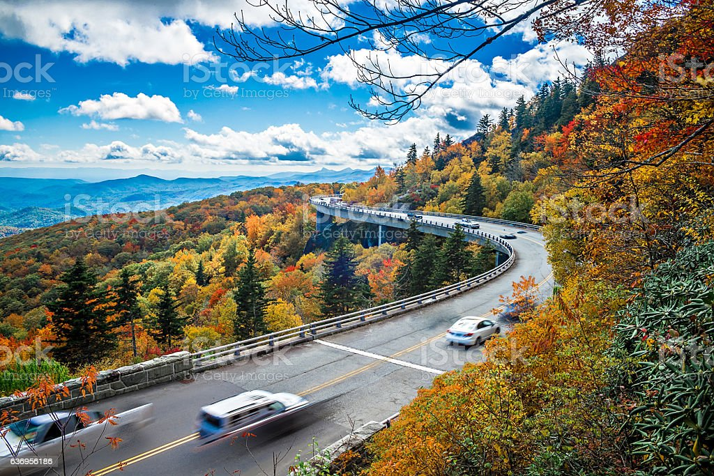 Wide Curve of Linn Cove Viaduct during autumn stock photo