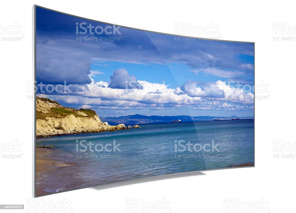4K wide curved tv stock photo