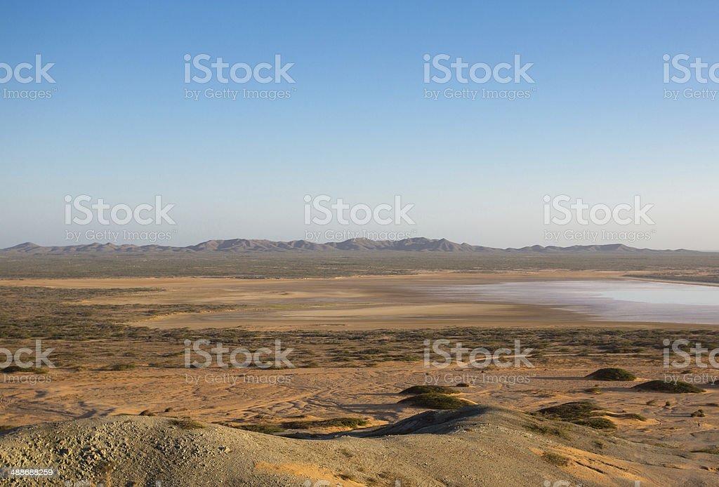 Wide deserted beach in La Guajira, Colombia stock photo