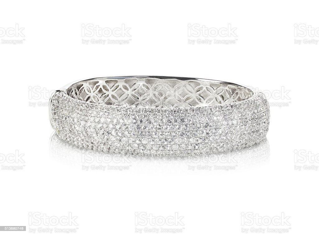 Wide diamond Bangle Bracelet stock photo