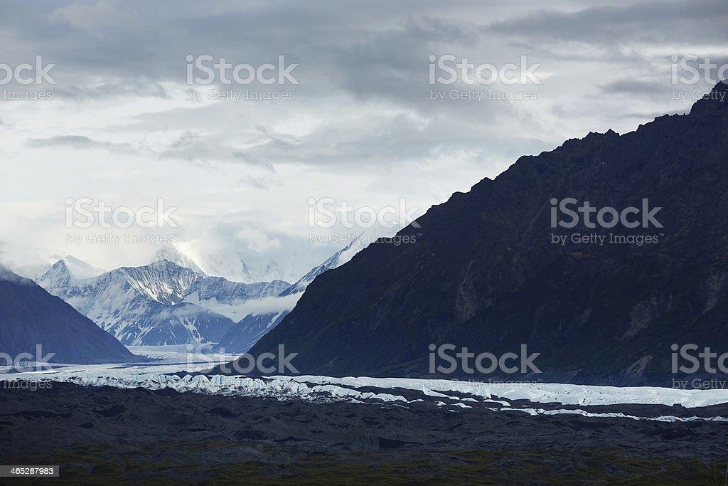 Wide Dusk View of the Matanuska Glacier, Alaska USA stock photo