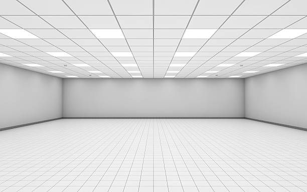 Wide empty office room interior with white walls 3 d Abstract wide empty office room interior with white walls, ceiling illumination and floor tiling, 3d illustration ceiling stock pictures, royalty-free photos & images