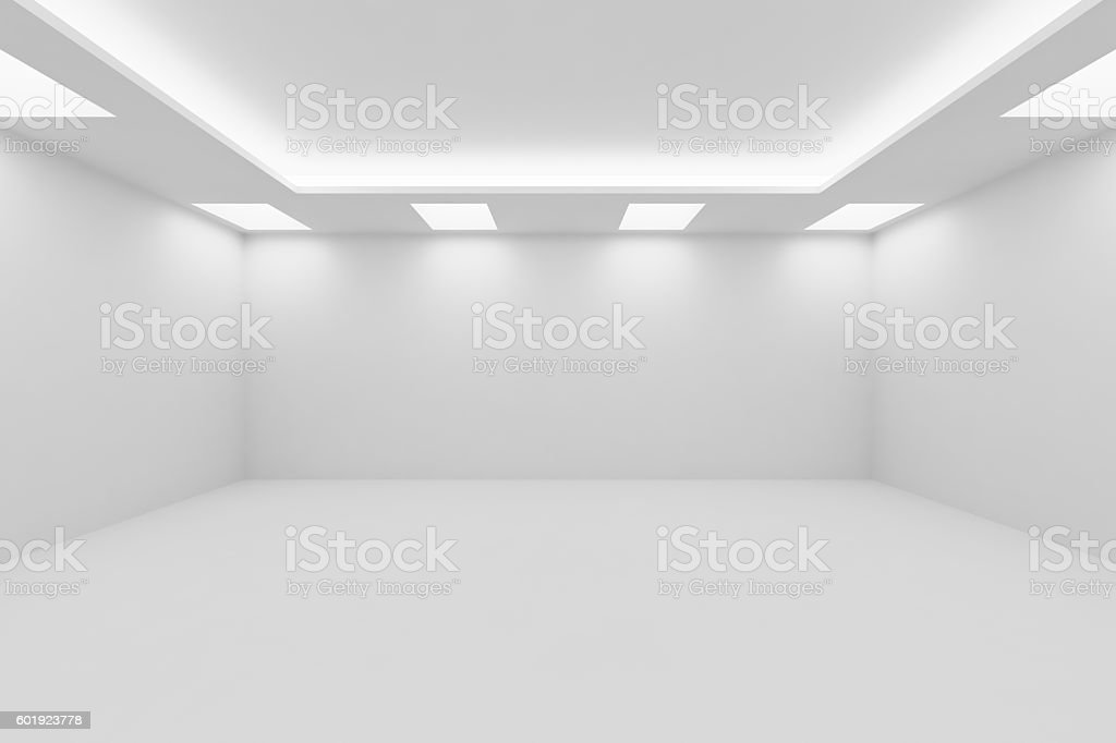Wide empty white room with square ceiling lights stock photo