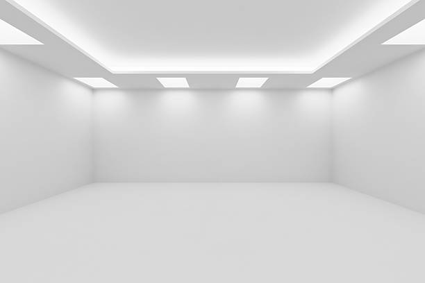 Wide empty white room with square ceiling lights Abstract architecture white room interior - wide empty white room with white wall, white floor, white ceiling with square ceiling lamps and hidden ceiling lights and empty space, 3d illustration cleanroom stock pictures, royalty-free photos & images