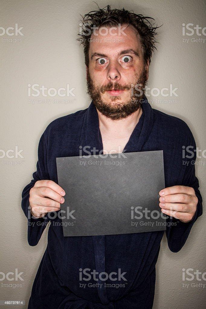 Wide eyed man stock photo