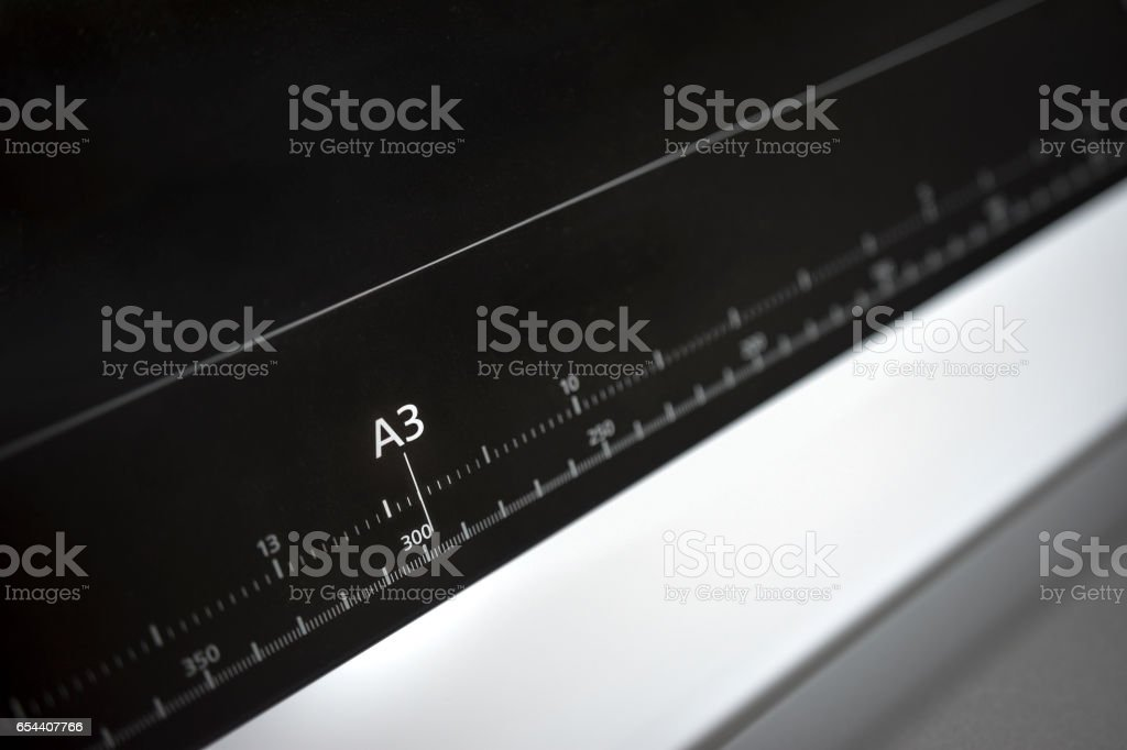 Wide Format Plotter Printer Ruller A3 European Paper Format stock photo